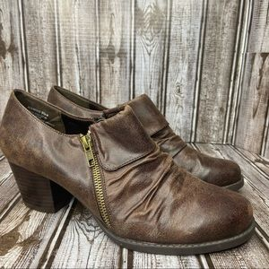 BareTraps faux leather booties - distressed brown - size 9.5